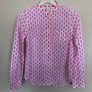 J. Crew | Thistle Red & Pink Popover Top - Size 2
